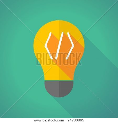 Long Shadow Light Bulb With A Code Sign