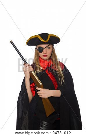 Pirate girl holding gun isolated on white