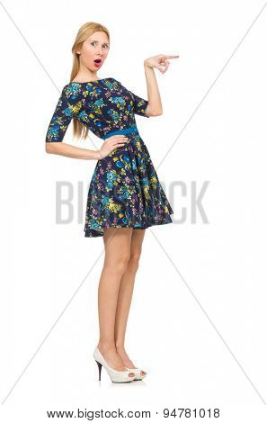 Woman in dark blue floral dress isolated on white