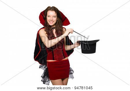 Woman magician isolated on white