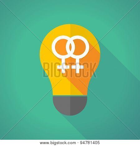Long Shadow Light Bulb With A Leabian Sign