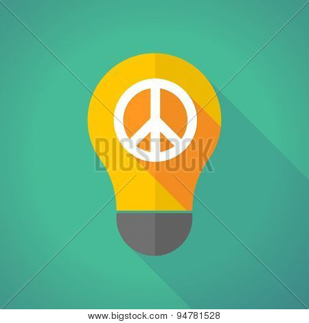 Long Shadow Light Bulb With A Peace Sign