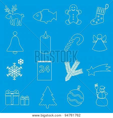Christmas White And Blue Outline Icons Collection Eps10