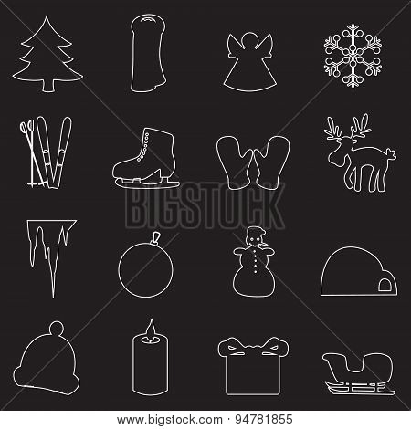 Simple White Winter Outline Icons Set Eps10
