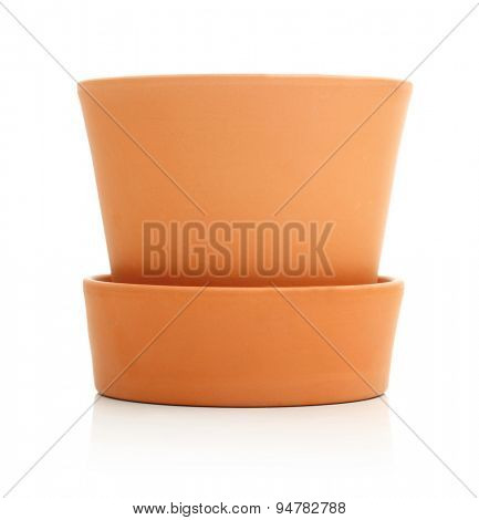 Ceramic pot isolated on white background
