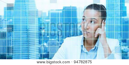 business and people concept - african american businesswoman looking up and thinking over city and blue grid background