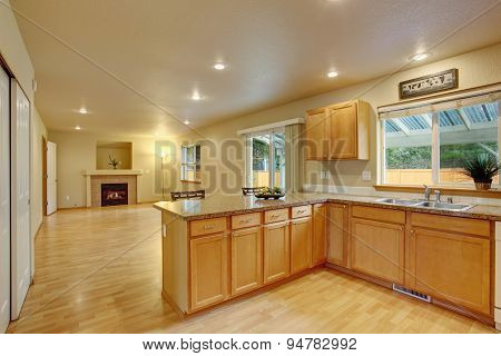 Classic Kitchen With Hardwood Floor.