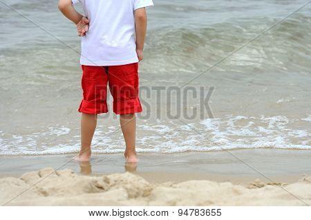 Little Boy At Tropical Beach