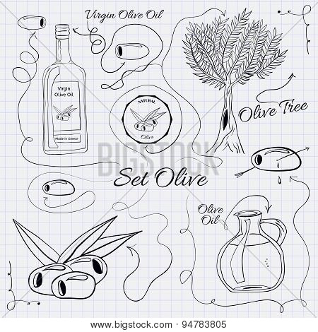 A large collection of stand-alone sketch olives for design on a sheet of paper into the cage.  illus