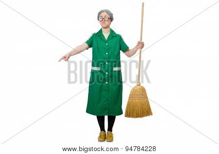 Woman with sweeping brush isolated on white