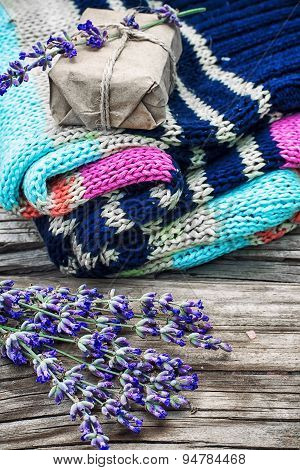 Branches Of Blooming Lavender And Wool Items