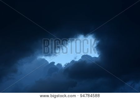 Stormy Clouds And Window With Serene Blue Sky
