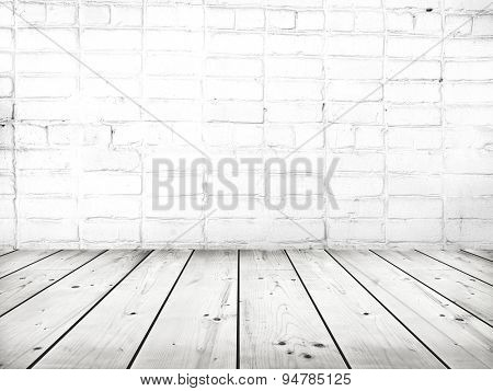 Old wooden table with  grey background
