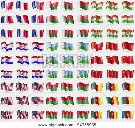 France, Madagascar, Niger, Mordovia, Djibouti, China, Usa, Burkia Faso, Cameroon. Big Set Of 81 Flag