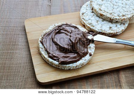 Chocolate Spread On Puffed Wheat Galette
