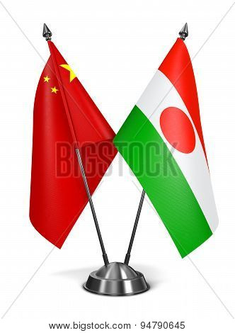 China and Niger - Miniature Flags.