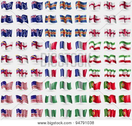 Cook Islands, Aland, England, Herm, France, Iran, Bikini Atoll, Nigeria, Portugal. Big Set Of 81 Fla