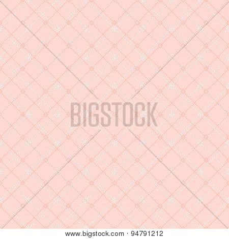 Seamless gentle pink diamond check dot line pattern background.