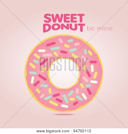 Sweet  Donut Card With Pink Glaze And Many Decorative Sprinkles