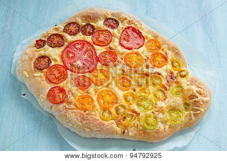 rainbow tomato pizza