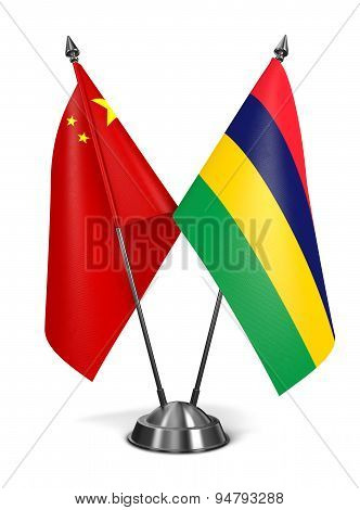China and Mauritius - Miniature Flags.