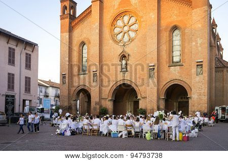 White dinner in Alba. Color image