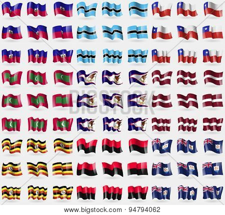 Haiti, Botswana, Chile, Maldives, American Samoa, Latvia, Uganda, Upa, Anguilla. Big Set Of 81 Flags