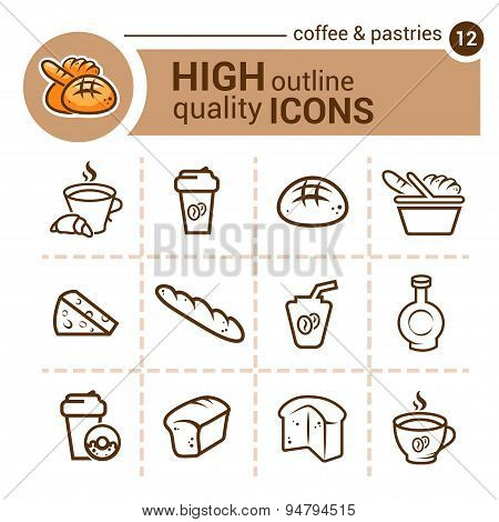 coffee and pastries icons