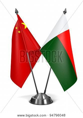 China and Madagascar - Miniature Flags.
