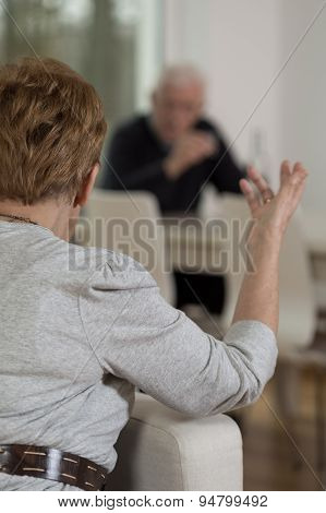 Elderly Couple Having An Argument