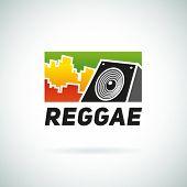 stock photo of rastafari  - Reggae music equalizer logo emblem vector design - JPG