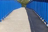 foto of pedestrians  - Concrete pedestrian bridge in blue tone and tree - JPG
