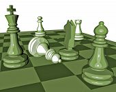 stock photo of chessboard  - chess game graphic illustration with pawns and chess king and chessboard - JPG