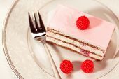 stock photo of pound cake  - Capture of Delicious cake with berries on plate  - JPG