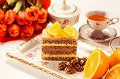 pic of pound cake  - Capture of Delicious creamy cake with lemon - JPG