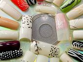 picture of fingernail  - Close up of artificial fingernails shot from above - JPG