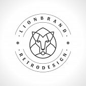 Vintage lion face Line art logotype emblem symbol. Can be used for labels, badges, stickers, logos v poster