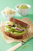 picture of alfalfa  - healthy rye sandwich with avocado cucumber alfalfa sprouts - JPG