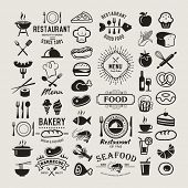 Food logotypes set. Restaurant vintage design elements, logos, badges, labels, icons and objects poster