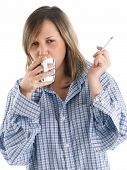 picture of smoking woman  - Young woman drinking coffee and smoking isolated on white - JPG