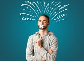 foto of taboo  - Young man with taped mouth and white drawn lines and arrows around his head   - JPG