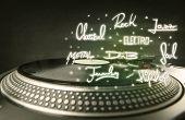 Постер, плакат: Turntable with vinyl and music genres writen concept on background