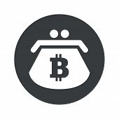 stock photo of bitcoin  - Image of purse with bitcoin symbol in black circle - JPG