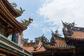 stock photo of gable-roof  - Dragon From The Roof Of Longshan Temple In Taipei - JPG
