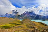 picture of snow capped mountains  - Beautiful summer morning in Patagonia - JPG