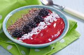 image of blackberries  - Breakfast bowl with green and blackberry smoothie - JPG
