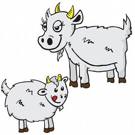 foto of baby goat  - mom and baby goat cartoon illustration isolated on white - JPG