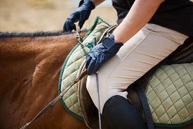 foto of horse-riders  - Close up leg of man on a horse - JPG