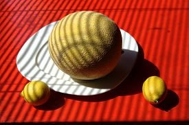 image of jalousie  - Retro stylized still life of yellow sugar melon on white square plate with two lemons on red tabletop - JPG