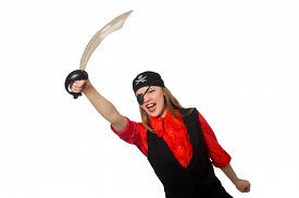 picture of pirate sword  - Pretty pirate girl holding sword isolated on white - JPG